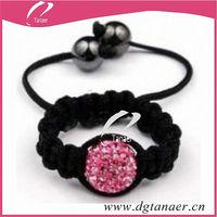 Pink Crystal Shamballa Ring