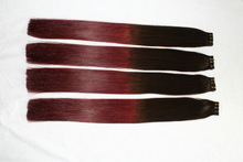 two tone color doubel drawn best quality remy human hair indian tape hair extension