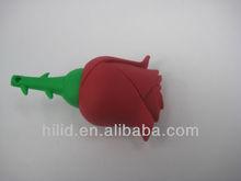 Free Shipping Hot sale novelty rose PVC carton USB Flash Drive accept paypal