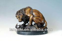 The French Revolution History Bronze Lion&Snake Sculpture Home&Garden Deco TPAL-068