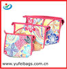 Polyester beautiful colorful floral printed cosmetic bags for ladies