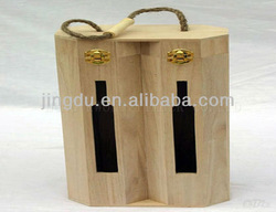 HIGH QUALITY WOOD WINE CARRIER/2 BOTTLE CASE WITH WINDOW