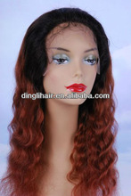 2013 new fashion 100% red wavy brazilian hair lace front wig