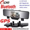 gps 1080p G-sensor Dual Cam HD bluetooth car rearview mirror monitor