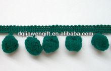 bulk 10mm Green color Pompom fringe pompom trims