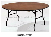 used metal frame restaurant banquet folding wood tables,used hotel furniture folding dining tables (GT616)