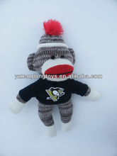 Hot sale big mouth knitted sock monkey toy for kids