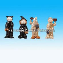 Standing painted ceramic halloween figurines