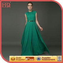 2013 Alibaba New Design Sleeveless Chiffon Maxi Green Evening Dress