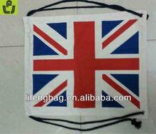 uk flag eco cotton canvas drawstring bags
