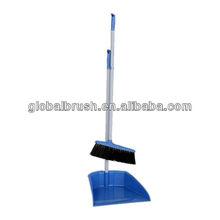 HQ0804 Sharjah & France market,plastic broom fixed on plastic dustpan,w/ long powder coated iron handle