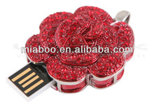 Jewelry USB rose, red rose usb jewelry, flower shape jewelry rose usb gift for girlfriend