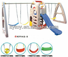 New design plastic swing and slide outdoor playhouse for kids