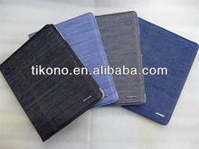 fashion special super jeans pattern folding stand leather case for ipad 2 3