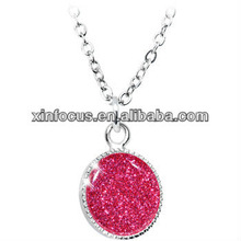 2013New Style Flamingo Pink Glitter Pendant Necklace