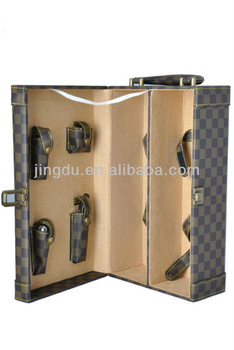HIGH QUALITY WINE BOTTLE CARRIER BOX WITH LEATHER HANDLE