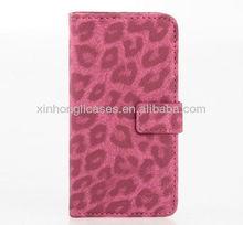 Leopard Grain Wallet Flip Leather Case for iPhone5&5G-Deluxe