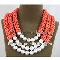 Romantic 3 Rows Bridesmaid Coral Necklace Handmade Pink Coral Balls Bridal Jewelry CN003