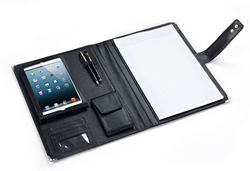 Black Leather Padfolio With Quick-Release Holder for iPad Mini