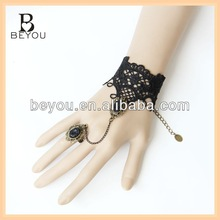 New rococo gothic lolita restore ancient ways black lace bracelet ring one chain accessories product