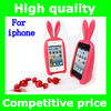 2013 New arrival Cute 3D Bunny Rabito Case Rubber Skin Cover Rabbit Holder Tail Stand silicone Case for iPhone4G 4S