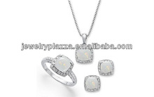 2013 Sterling Silver Jewelry Set,Opal and Diamond Accent Necklace, Earrings and Ring Set