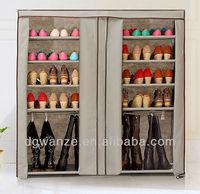 2 doors DIY nonwoven shoe storage shelf with cover