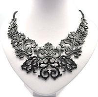black metal floral lace necklace jewellery