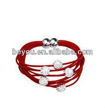 2013 Newest Clay Shamballa Bracelet Magnet Clasp Genuine Leather Bracelet Jewelry