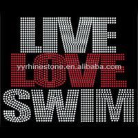 Rhinestone Live Love Swim Hot Fix Iron On Transfer T-Shirt