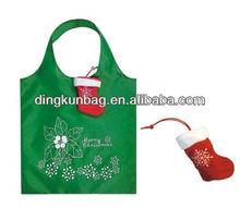 2013 christmas day foldable polyester shopping bag