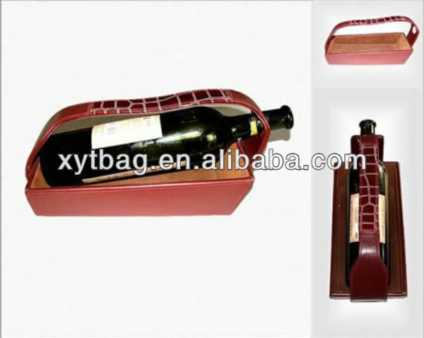 Fashion leather wine carrier and leather basket for wine package