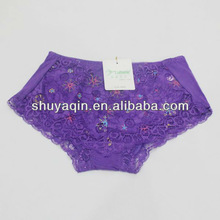 womens bamboo fiber big panty with lace