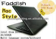 13.3 inch Intel AtomD2500 Windows 7 Laptop dvd