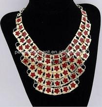 multi rows enamel flower necklace red enamel flower