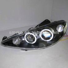 Auto angel eye head lamp_ LED car head lamp for Peugeot 206