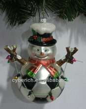 new Football Sport glass snowman Christms ornament