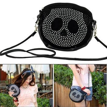 fashion black handbag small Cute Panda bag Leather Bling bag lady Purse with Rhinestone