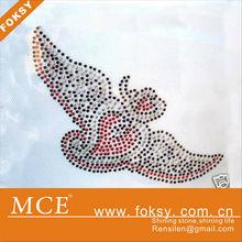 hot fix flat back rose heart jet angel wing rhinestone motif - FOKSY