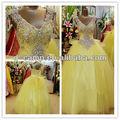 Wd-1719 fancy frisada corpete espartilho amarelo vestidos para casamentos amostra real do vestido de casamento