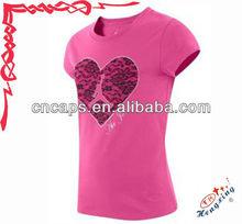 Pink 100% cotton slim fit women's t shirt