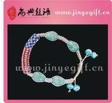 Fashion Handmade American Flag Silver Strip Turquoise Skull Shamballa Blue Stone Bracelet