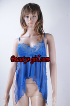 Blue lace babydoll charming design for hot sexy women sleepwear
