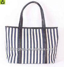 western style white blue stripe designer canvas bag
