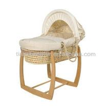 Hand Made Baby Bassinet, Moses Basket /Wooden Rocking Stand/Bedding set