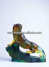 Pate de verre color glaze crystal glass big size tiger