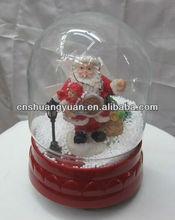 xmas snow globe with blowing snow