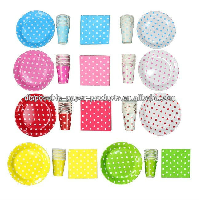 Polka Dot themed party supplies Party Themes Dots and Stripes Birthday Theme Polka Dots Party Paper Plates Cups Napkins Straws