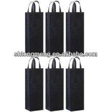 Reusable Gift Bag, Single Bottle Wine Tote , Black,(TM-W1301)