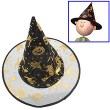 Witch Hat with Gold Inlay for Halloween, Halloween Gift
